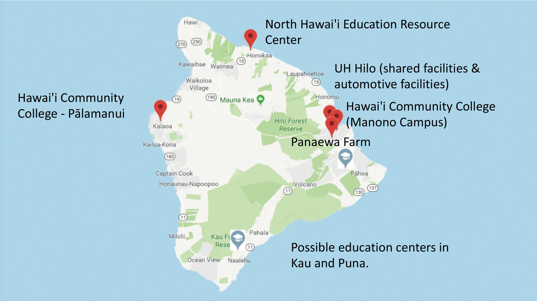 Big Island map of all Hawaii Community College facilities
